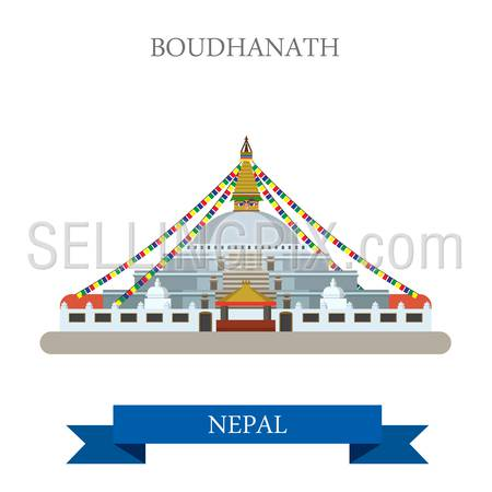 Boudhanath in Kathmandu Nepal. Flat cartoon style historic sight showplace attraction web site vector illustration. World countries cities vacation travel sightseeing Asia collection.