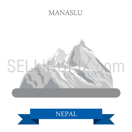 Manaslu Mountain in Nepal. Flat cartoon style historic sight showplace attraction web site vector illustration. World countries cities vacation travel sightseeing Asia collection.