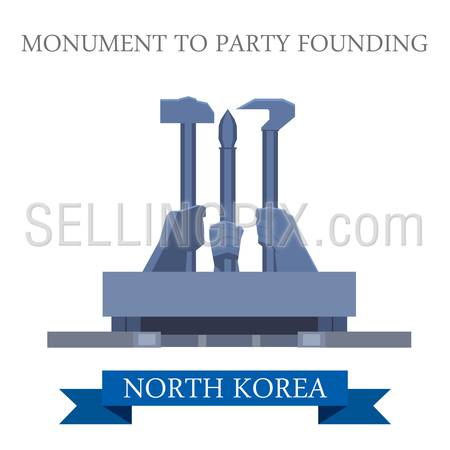 Monument to Party Founding in Pyongyang North Korea. Flat cartoon style historic sight showplace attraction web site vector illustration. World countries cities vacation travel sightseeing Asia collection.