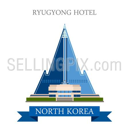 Ryugyong Hotel in Pyongyang North Korea. Flat cartoon style historic sight showplace attraction web site vector illustration. World countries cities vacation travel sightseeing Asia collection.