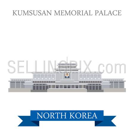 Kumsusan Memorial Palace in Pyongyang North Korea. Flat cartoon style historic sight showplace attraction web site vector illustration. World countries cities vacation travel sightseeing Asia collection.