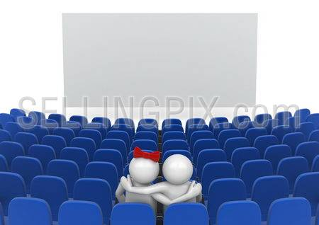 Date in cinema (love, valentine day series; 3d isolated characters)