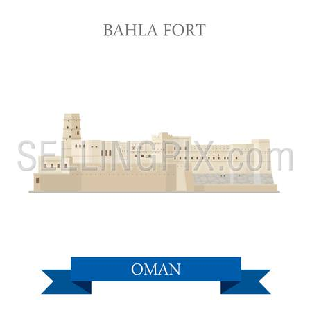 Bahla Fort in Oman. Flat cartoon style historic sight showplace attraction web site vector illustration. World countries cities vacation travel sightseeing Asia collection.