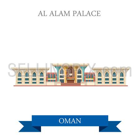 Al Alam Palace in Muscat Oman. Flat cartoon style historic sight showplace attraction web site vector illustration. World countries cities vacation travel sightseeing Asia collection.