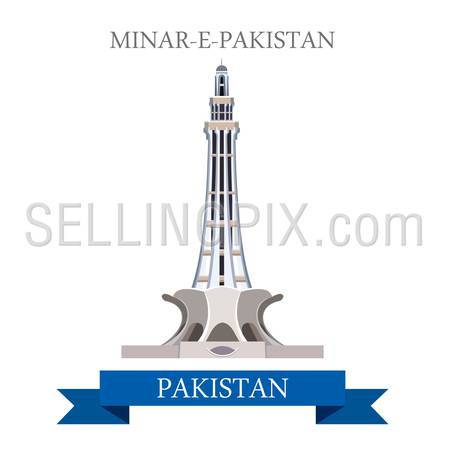Minar-e-Pakistan in Lahore Pakistan. Flat cartoon style historic sight showplace attraction web site vector illustration. World countries cities vacation travel sightseeing Asia collection.