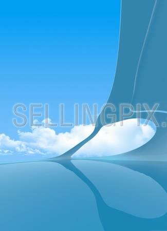 Future interior vertical copyspace (future blue interior series with copyspaces on sky, floor, ceiling)