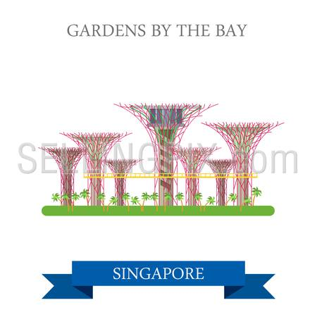 Gardens by the Bay in Singapore. Flat cartoon style historic sight showplace attraction web site vector illustration. World countries cities vacation travel sightseeing Asia collection.