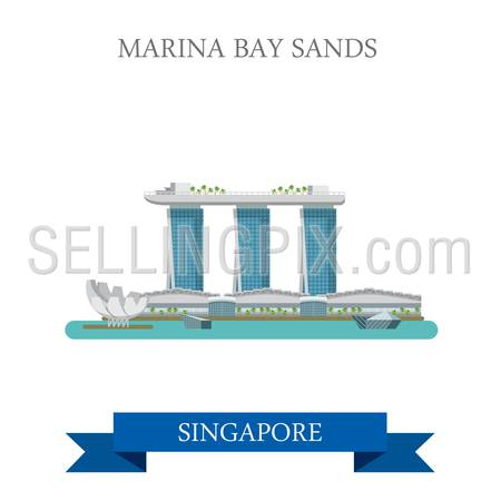 Marina Bay Sands in Singapore. Flat cartoon style historic sight showplace attraction web site vector illustration. World countries cities vacation travel sightseeing Asia collection.