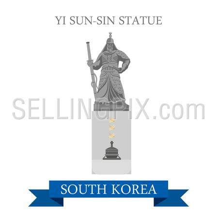 Yi Sun-Sin Statue in South Korea. Flat cartoon style historic sight showplace attraction web site vector illustration. World countries cities vacation travel sightseeing Asia collection.