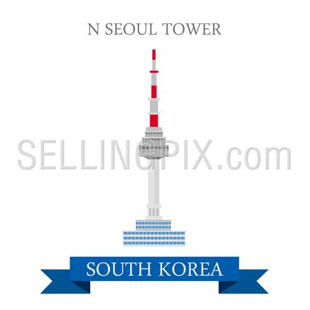 N Seoul Tower in South Korea. Flat cartoon style historic sight showplace attraction web site vector illustration. World countries cities vacation travel sightseeing Asia collection.