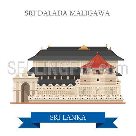 Sri Dalada Maligawa in Sri Lanka. Flat cartoon style historic sight showplace attraction web site vector illustration. World countries cities vacation travel sightseeing Asia collection.