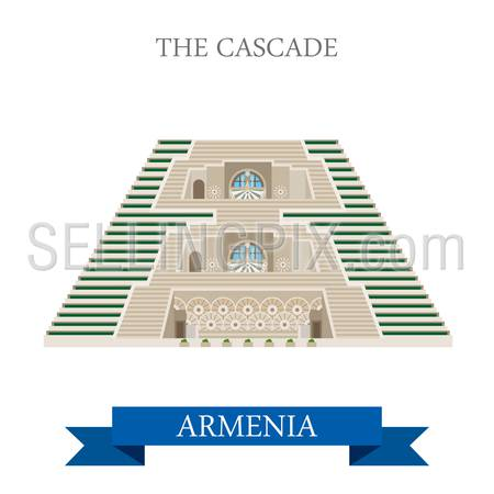 Cascade in Armenia. Flat cartoon style historic sight showplace attraction web site vector illustration. World countries cities vacation travel sightseeing Asia collection.