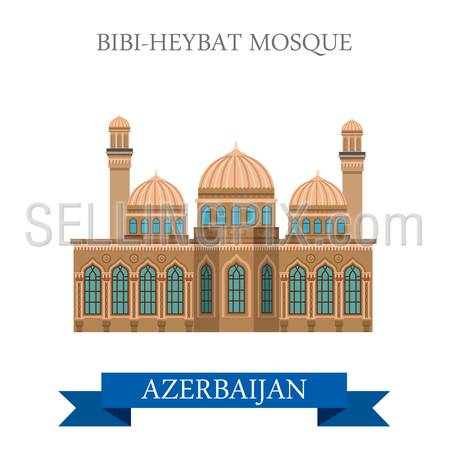Bibi-Heybat Mosque in Azerbaijan. Flat cartoon style historic sight showplace attraction web site vector illustration. World countries cities vacation travel sightseeing Asia collection.