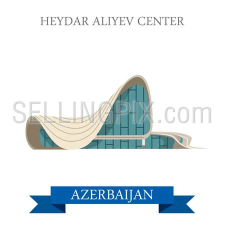 Heydar Aliyev Center in Azerbaijan. Flat cartoon style historic sight showplace attraction web site vector illustration. World countries cities vacation travel sightseeing Asia collection.