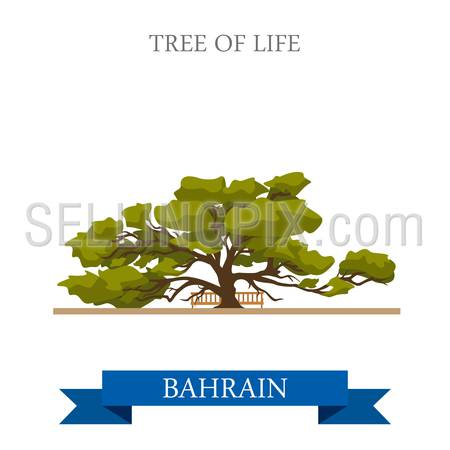 Tree of Life in Bahrein. Flat cartoon style historic sight showplace attraction web site vector illustration. World countries cities vacation travel sightseeing Asia collection.