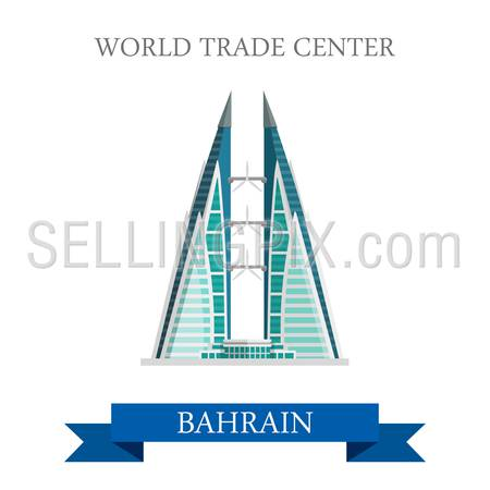 World Trade Center in Bahrain. Flat cartoon style historic sight showplace attraction web site vector illustration. World countries cities vacation travel sightseeing Asia collection.