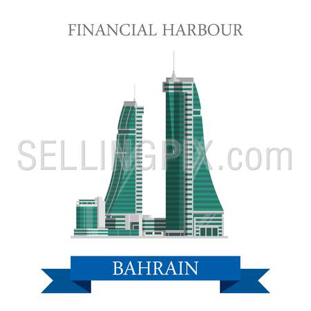 Financial Harbor in Bahrain. Flat cartoon style historic sight showplace attraction web site vector illustration. World countries cities vacation travel sightseeing Asia collection.