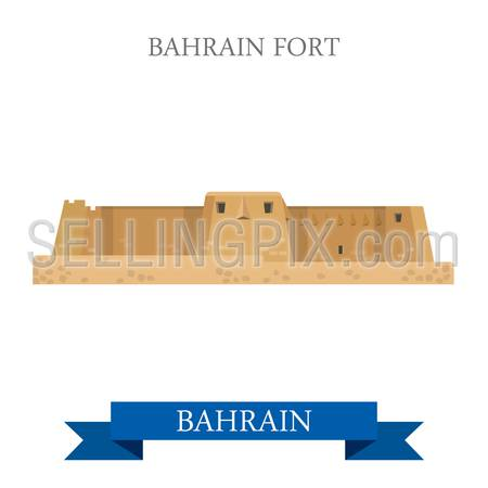 Bahrain Fort. Flat cartoon style historic sight showplace attraction web site vector illustration. World countries cities vacation travel sightseeing Asia collection.