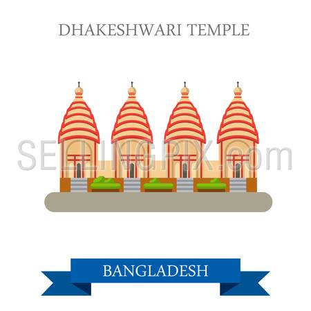 Dhakeshwari Temple in Bangladesh. Flat cartoon style historic sight showplace attraction web site vector illustration. World countries cities vacation travel sightseeing Asia collection.