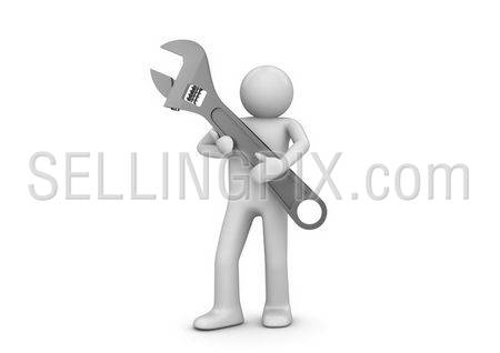 Urgent support (3d isolated characters, business series)