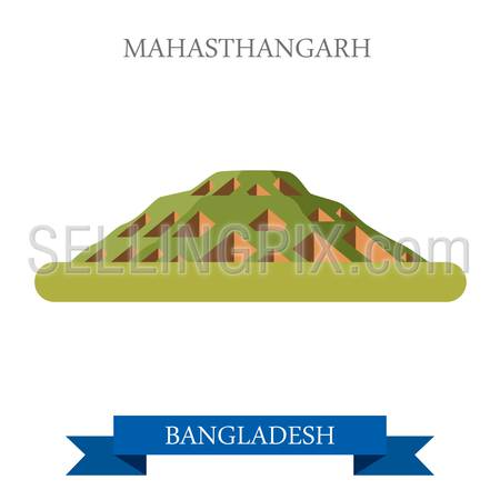 Mahasthangarh in Bogra, Bangladesh. Flat cartoon style historic sight showplace attraction web site vector illustration. World countries cities vacation travel sightseeing Asia collection.