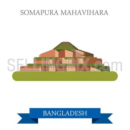 Somapura Mahavihara Buddhist vihara in Bangladesh. Flat cartoon style historic sight showplace attraction web vector illustration. World countries cities vacation travel sightseeing Asia collection.