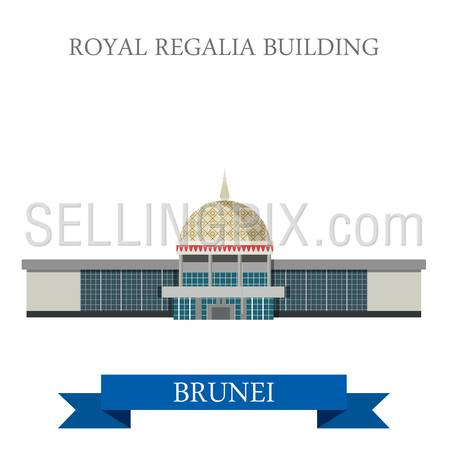 Royal Regalia Building museum in Brunei. Flat cartoon style historic sight showplace attraction web site vector illustration. World countries cities vacation travel sightseeing Asia collection.