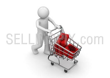 Gifts in shopping cart (3d isolated characters series)