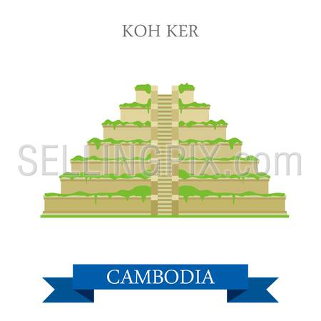 Koh Ker in Cambodia. Flat cartoon style historic sight showplace attraction web site vector illustration. World countries cities vacation travel sightseeing Asia collection.