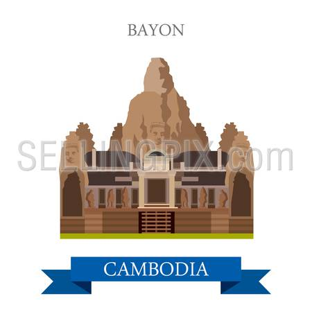 Bayon Khmer temple in Angkor, Cambodia. Flat cartoon style historic sight showplace attraction web site vector illustration. World countries cities vacation travel sightseeing Asia collection.