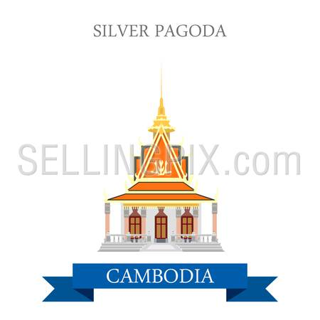 Silver Pagoda in Cambodia. Flat cartoon style historic sight showplace attraction web site vector illustration. World countries cities vacation travel sightseeing Asia collection.