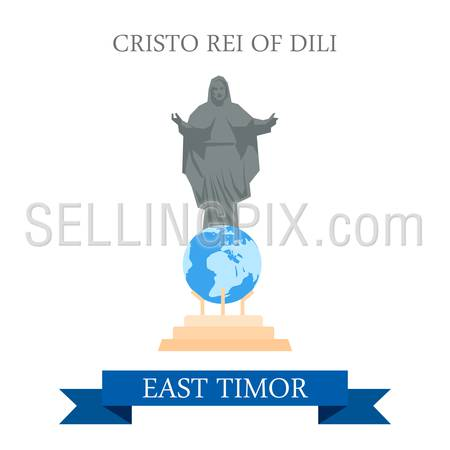 Cristo Rei of Dili Jesus Statue in East Timor. Flat cartoon style historic sight showplace attraction web site vector illustration. World countries cities vacation travel sightseeing Asia collection.