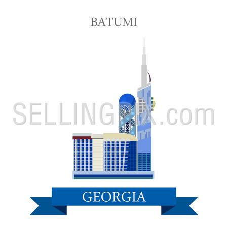 Batumi in Georgia. Flat cartoon style historic sight showplace attraction web site vector illustration. World countries cities vacation travel sightseeing Asia collection.