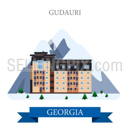 Gudauri mountain ski resort in Georgia. Flat cartoon style historic sight showplace attraction web site vector illustration. World countries cities vacation travel sightseeing Asia collection.