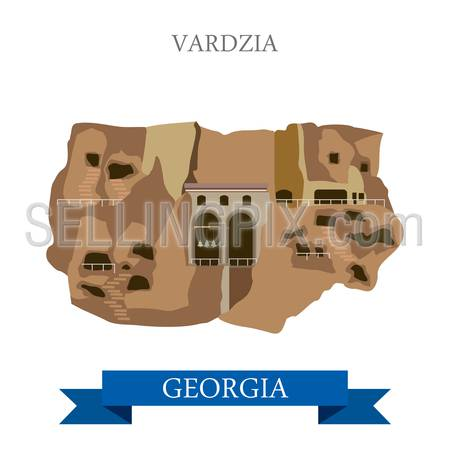 Vardzia cave monastery in Georgia. Flat cartoon style historic sight showplace attraction web site vector illustration. World countries cities vacation travel sightseeing Asia collection.