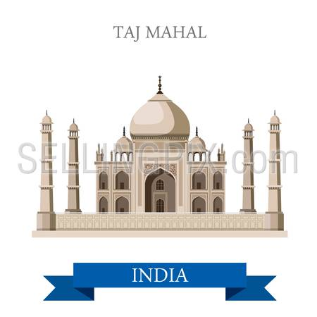 Taj Mahal mausoleum in Agra, India. Flat cartoon style historic sight showplace attraction web site vector illustration. World countries cities vacation travel sightseeing Asia collection.