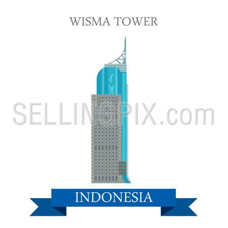 Wisma Tower in Jakarta, Indonesia. Flat cartoon style historic sight showplace attraction web site vector illustration. World countries cities vacation travel sightseeing Asia collection.