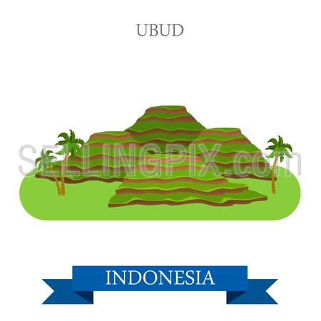 Ubud in Bali Island, Indonesia. Flat cartoon style historic sight showplace attraction web site vector illustration. World countries cities vacation travel sightseeing Asia collection.