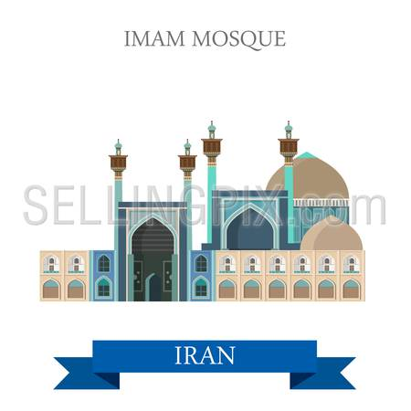 Imam Shah Mosque in Iran. Flat cartoon style historic sight showplace attraction web site vector illustration. World countries cities vacation travel sightseeing Asia collection.