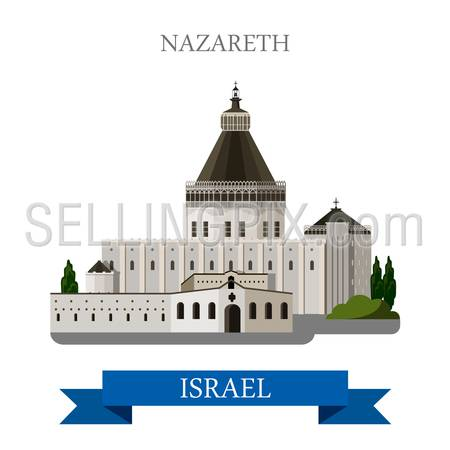 Nazareth in Israel. Flat cartoon style historic sight showplace attraction web site vector illustration. World countries cities vacation travel sightseeing Asia collection.
