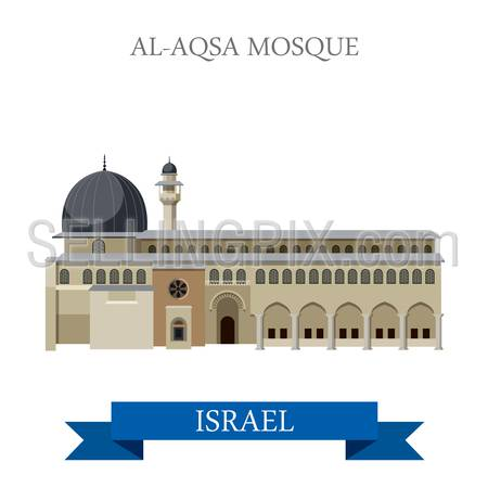 Al-Aqsa Mosque in Israel. Flat cartoon style historic sight showplace attraction web site vector illustration. World countries cities vacation travel sightseeing Asia collection.