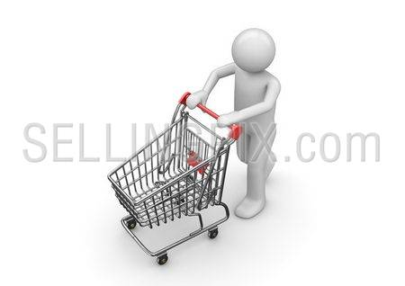 Shopping man with cart (3d isolated characters, business series)