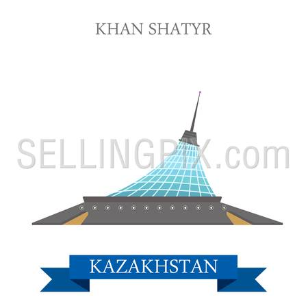 Khan Shatyr Entertainment Center in Astana, Kazakhstan. Flat cartoon style historic sight showplace attraction vector illustration. World countries cities vacation travel sightseeing Asia collection.