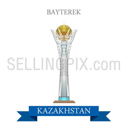 Bayterek in Astana, Kazakhstan. Flat cartoon style historic sight showplace attraction web site vector illustration. World countries cities vacation travel sightseeing Asia collection.