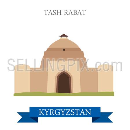 Tash Rabat in Kyrgyzstan. Flat cartoon style historic sight showplace attraction web site vector illustration. World countries cities vacation travel sightseeing Asia collection.