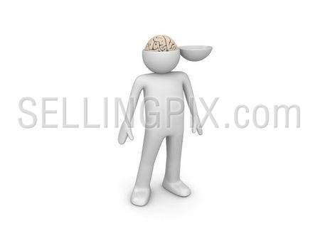 Trepanned head (3d isolated characters, medicine series)
