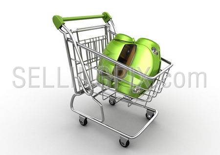 Green car in shopping cart (funny micromachines series)