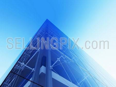 Skyscraper facade (3d modern city street urban style series)