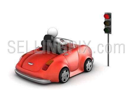 Red cabrio on stopped red traffic light signal (funny isolated on white background micro machines series)