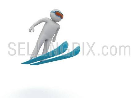Ski jumping (3d isolated characters on white background, sports series)